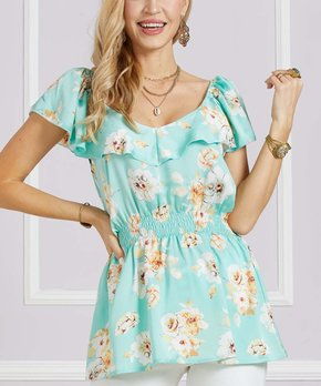 c7a4a473885 Suzanne Betro   Mint & White Floral V-Neck Ruffle Peplum Tunic - Wome…