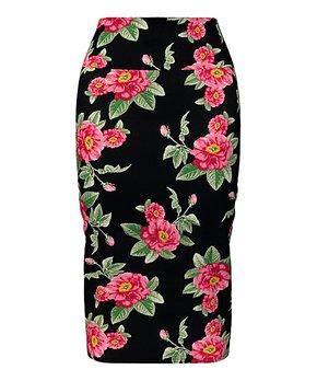 4bdc155807 VKY & CO   Black & Pink Floral Tummy Control Pencil Skirt - Women & P…