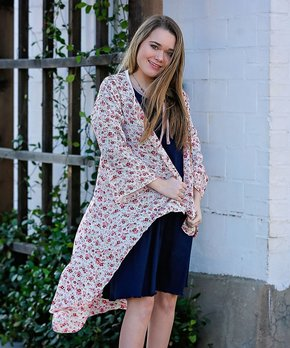 537b98ca8 Lilli Lovebird | Off-White & Pink Floral Drape-Front Duster - Girls. shop  now. Lilli Lovebird | Navy & Pink Chevron ...