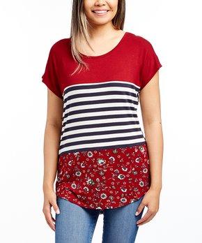 cabebbe954ac Tru Self | Navy & Ivory Stripe Short-Sleeve Round-Hem Lace-Back Tunic…