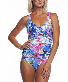 489a7077e1 Maxine | Pink & Blue Potpourri Twist-Front One-Piece - Women