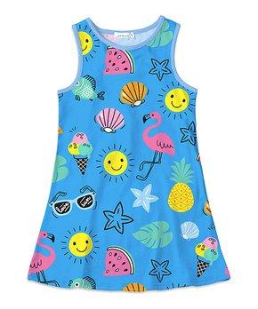 9bb0d4923cd4 Sunshine Swing | Blue & Pink Flamingo Shell Tank Dress - Toddler & Gi…