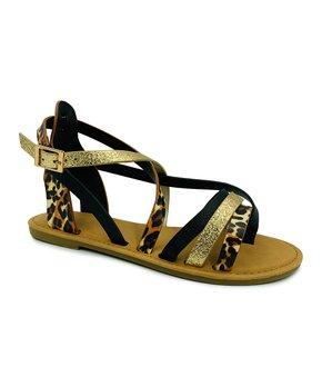 632356024db1 Bamboo | Black & Gold Leopard Strappy Shoreline Sandal - Women