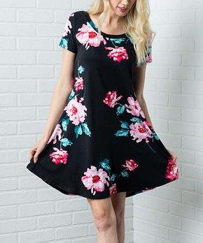 8b1d9fe03714 Acting Pro   Black Floral Scoop Neck Shift Dress - Women & Plus