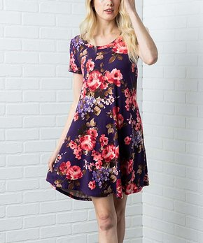 5a3f04ff0820 Acting Pro   Navy Floral Scoop Neck Shift Dress - Women & Plus