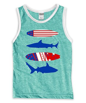 83c631fae Urban Smalls | Heather Aquagreen & White Surfboards & Sharks Muscle T…