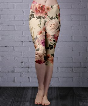 faaf3614c44d9 Lily | Beige Floral Capri Leggings - Women & Plus