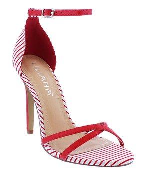 94cc00fb61 Liliana Footwear | Red & White Stripe Heather Sandal - Women