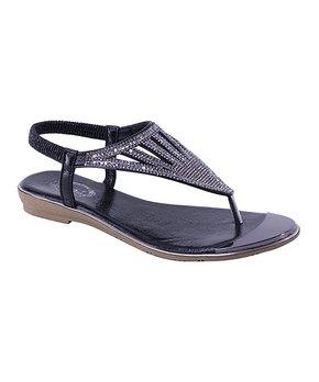 e50eae4f3 Selina | Black Pavé Rhinestone Cutout T-Strap Sandal - Women