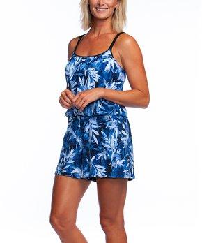 52deb13e35 Maxine | Blue Floral Camisole Swimdress - Women