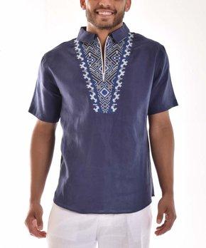 e41f9ded Bohio Breeze | Navy & White Geometric Half-Zip Shirt - Men