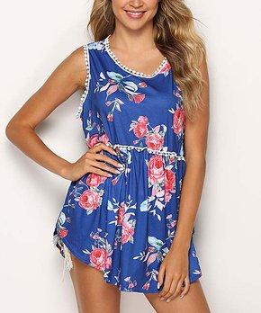 f53e6340b Hope Horizon | Blue & Pink Floral Lace-Trim Sleeveless Swing Top - Wo…