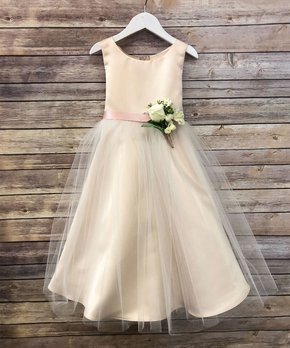 7122769fe Precious Kids | Champagne Flower-Accent Tulle A-Line Dress - Toddler …