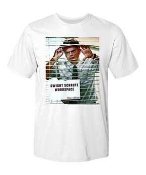 249073306 American Classics | White 'Dwight Schrute' Blinds Crewneck Tee - Men