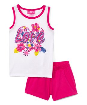cb231e736 Girls Luv Pink | White & Fucshia 'Love' Tank & Shorts - Newborn, Infa…
