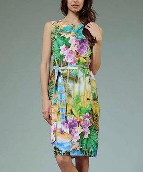 0c7a3ea161a9 Aerin   Blue & Green Tropical Scene Tie-Waist Sleeveless Dress - Women