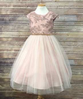 a9be9246c Precious Kids | Dusty Rose Floral Belt-Accent Sleeveless A-Line Dress…