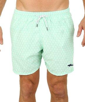9007f1bf34 Uzzi Amphibious Gear | Green Geometric Drawstring Swim Trunks - Men &…