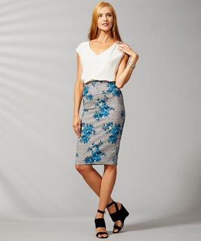db5c9a01e7 VKY & CO   Navy & Blue Floral Tummy Control Pencil Skirt - Women & Pl…