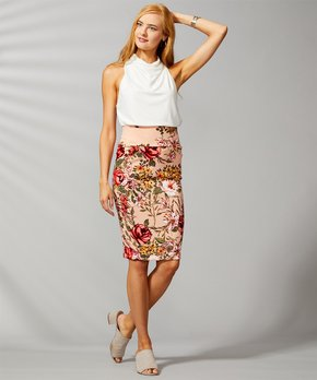 505d76cb40 VKY & CO   Pink & Yellow Floral Tummy Control Pencil Skirt - Women & …