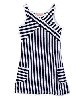 55f6c0f4963f3 Sophie & Sam | Navy & White Stripe Sleeveless Shift Dress - Toddler &…