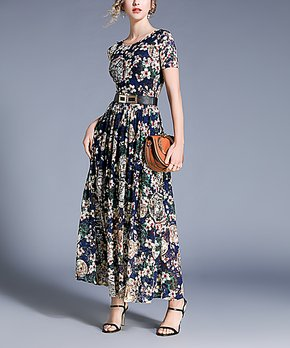 25b9343bcc26c9 Msquared | Blue Floral & Coin Scoop Neck Maxi Dress - Women
