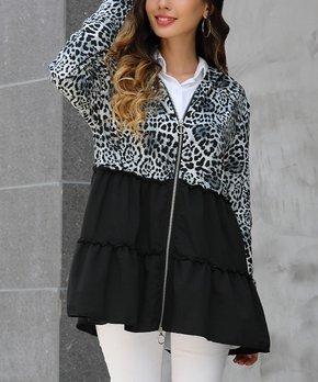 35a6d45663 Z Avenue | Black Leopard Print Peplum Jacket - Women & Plus