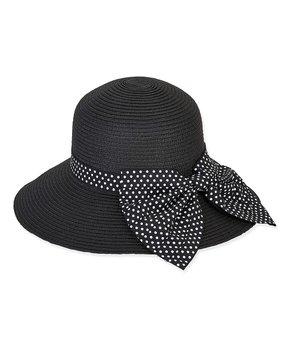 6a0b6a34 Sunny Dayz | Black & Polka Dot Bow-Accent Bucket Hat