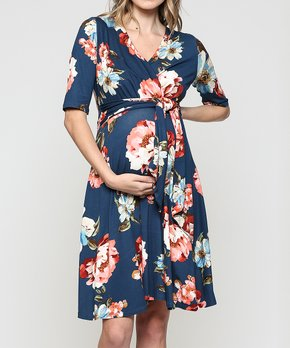 9a0c61709bc85 Hello Miz Maternity | Navy Floral Maternity Empire-Waist Dress - Women