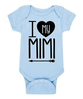 6a32e7be50ba5 Instant Message | Light Blue & Black 'I Love My Mimi' Bodysuit - Infa…