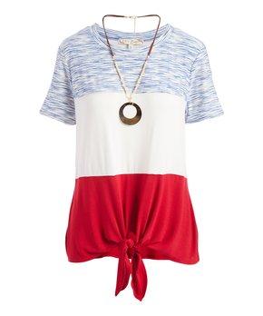 223e4b4851bd Tru Self | Blue & White Americana Tie-Front Tunic & Goldtone Pendant …