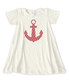 97cc65f7929eb Urban Smalls | Cream Polka Dot Anchor T-Shirt Dress - Toddler & Girls