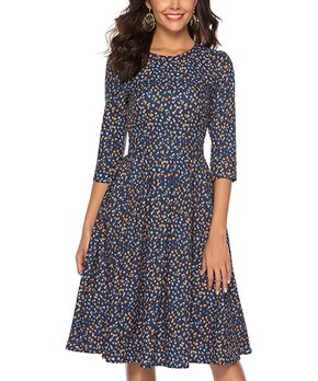 cd851522 Simple Flavor | Navy Speckle Fit & Flare Dress - Women