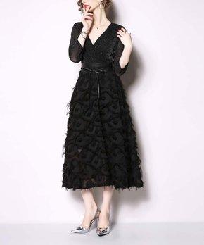 fcac7110ea5f60 nishangoudi | Black Lace-Overlay V-Neck Wrap Dress - Women