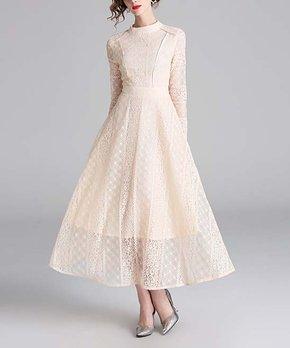 a3141451042a00 nishangoudi | Apricot Lace Round-Neck Fit & Flare Dress - Women
