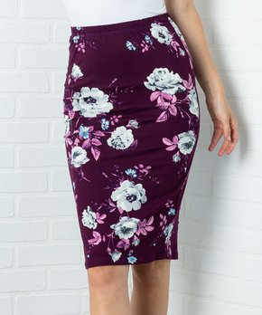 a6ae2eac2 Acting Pro | Plum Floral Pencil Skirt - Women & Plus