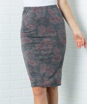 763909454 Acting Pro | Charcoal Floral Pencil Skirt - Women & Plus