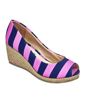 1bdf42314 Lillybee | Pink & Dark Blue Stripe Wedge - Women
