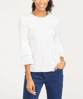 f754544937c063 J.McLaughlin | White Brenna Ruffle Tiered-Sleeve Top - Women