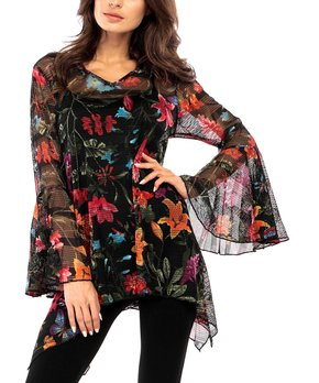 f40631270e8 Adore | Black Floral Sheer Bell-Sleeve Tunic - Women