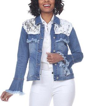 Tesoro Moda Denim Jacket with Black Crepe Overlay