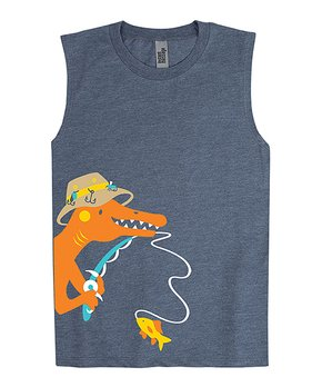 3d3d91ad Instant Message | Heather Blue Fishing Dino Muscle Tank - Toddler & B…