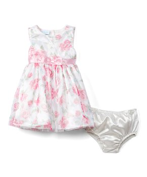84516668d Nannette Baby | Pink Floral Mesh A-Line Dress Set - Infant & Toddler
