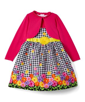 6af862b63 Nannette Girl   Pink Floral Plaid Poplin Dress & Shrug - Girls