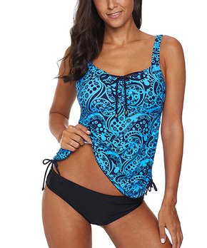 9a735f1091 Red Love | Blue Abstract Tankini Top & Black Bottoms - Women