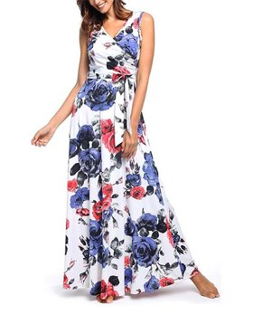 2785977961acdf Vestido | White Floral Pocket Tie-Waist Sleeveless Surplice Maxi Dres…