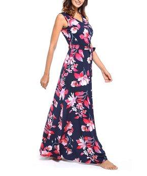 0fe5d87d2086bf Vestido | Navy Floral Pocket Tie-Waist Sleeveless Surplice Maxi Dress…
