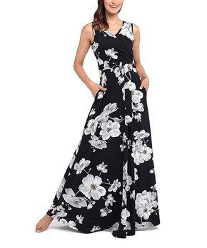 0df1188b9f07c4 Vestido | Black & White Floral Pocket Tie-Waist Sleeveless Surplice M…
