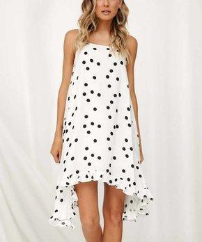 c99760b12a0572 Msquared | White & Black Polka Dot Sleeveless Sidetail Dress - Women
