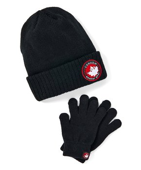 Canada Weather Gear Boys Winter Pom Pom Beanie Hat and Gloves Set